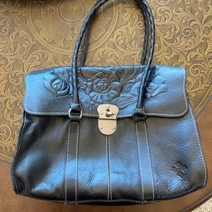 Patricia Nash Embossed Floral Black Leather EUC